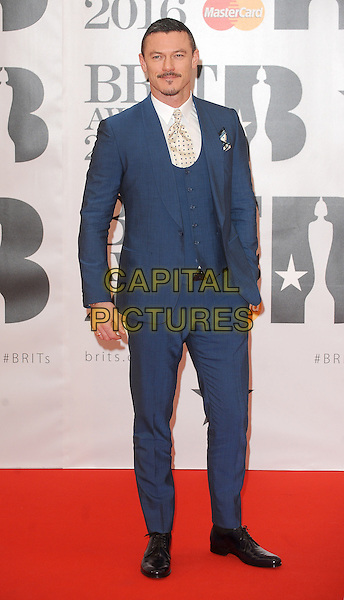 LONDON, ENGLAND - FEBRUARY 24: Luke Evans attends the Brit Awards 2016 at The O2 Arena in London on February 24, 2016 in London, England.<br /> CAP/BEL<br /> &copy;Tom Belcher/Capital Pictures