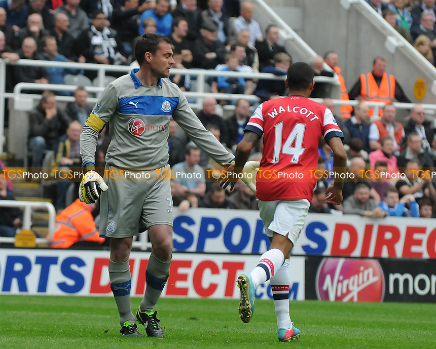 Newcastle United goalkeeper Steve Harper and Theo Walcott of Arsenal - Newcastle United vs Arsenal - Barclays Premier League Football at St James Park, Newcastle upon Tyne - 19/05/13 - MANDATORY CREDIT: Steven White/TGSPHOTO - Self billing applies where appropriate - 0845 094 6026 - contact@tgsphoto.co.uk - NO UNPAID USE