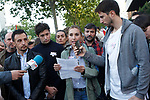 Spanish film director Alejandro Amenabar and actress Berta Collado during peaceful concentration in front of the Russian embassy in Madrid in repudiation of alleged crimes of persecution, torture and extermination of homosexuals in Chechnya. April 21, 2017. (ALTERPHOTOS/Acero)