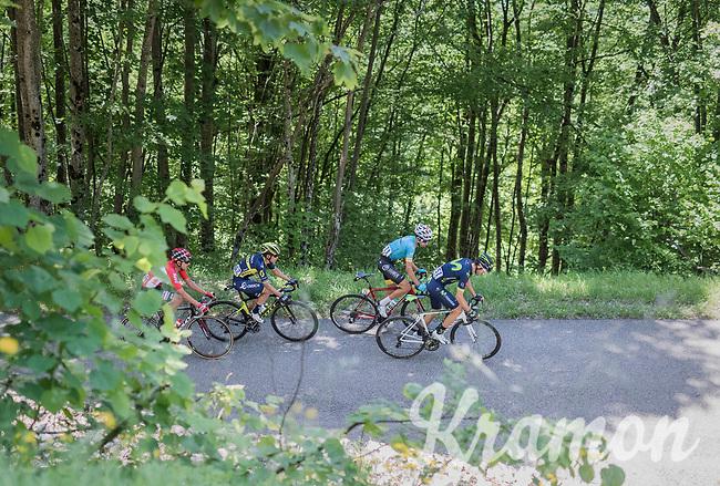 Alejandro Valverde (ESP/Movistar) is joined by Fabio Aru (ITA/Astana), Esteban Chavez (COL/Orica-Scott) &amp;  Rafael Valls (ESP/Lotto-Soudal) up the Mont du Chat (HC/1504m/8.7km/10.3%)<br /> <br /> Stage 6: Le parc des oiseaux/Villars-Les-Dombes &rsaquo; La Motte-Servolex (147km)<br /> 69th Crit&eacute;rium du Dauphin&eacute; 2017