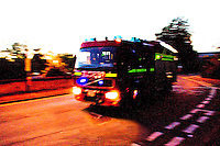 Fire Appliance responding to an emergency call from its home Fire Station Oxfordshire UK. This image may only be used to portray the subject in a positive manner..©shoutpictures.com..john@shoutpictures.com