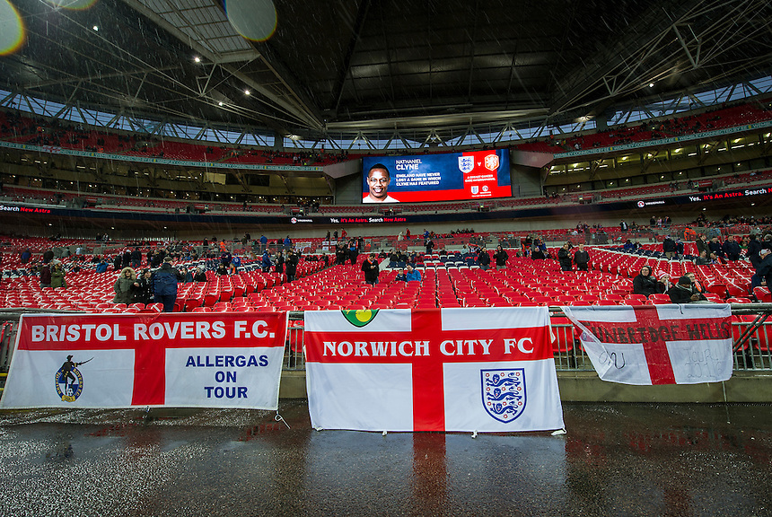 England flags on display at Wembley Stadium<br /> <br /> Photographer AshleyWestern/CameraSport<br /> <br /> Football - Breast Cancer Care International Friendly - England v Holland - Tuesday 29th March 2016 - Wembley Stadium - London<br /> <br /> &copy; CameraSport - 43 Linden Ave. Countesthorpe. Leicester. England. LE8 5PG - Tel: +44 (0) 116 277 4147 - admin@camerasport.com - www.camerasport.com