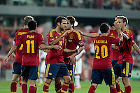 07.09.2012 Pontevedra, Spain. Friendly match between teams from Saudi Arabia vs Spain (4-0). Pasarón played at the stadium. The photo shows Cesc Fabregas Soler (Spanish midfielder of Barcelona) celebrating his team's goal