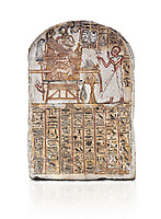 Ancient Egyptian Stele of Amenemope dedicated to Amenhotep I and Ahmose-Nefertari, limestone, New Kingdom, 19th Dynasty, (1279-1213 BC), Deir el-Medina, Drovetti cat 1452. Egyptian Museum, Turin. white background
