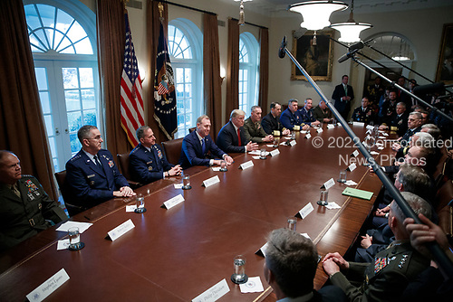 US President Donald J. Trump delivers remarks during a briefing by senior military leaders in the Cabinet Room of the White House in Washington, DC, USA, 03 April 2019. Following the briefing President Trump will host a dinner for the officials.<br /> Credit: Shawn Thew / Pool via CNP