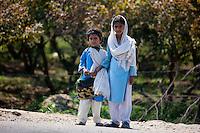 Indian schoolgirls in school uniform at Sawai Madhopur in Rajasthan, Northern India