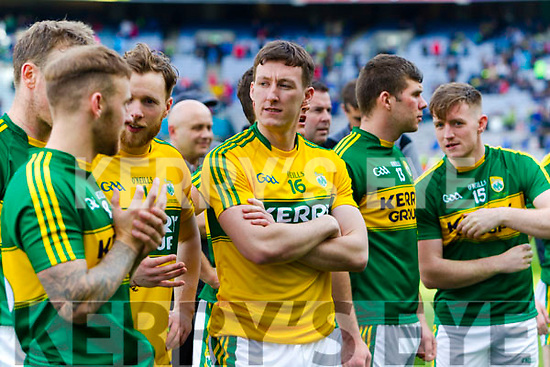 Brian Kelly Kerry players celebrate after defeating Dublin at the National League Final in Croke Park on Sunday.