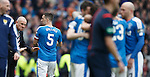 Mark Warburton on the park celebrating Barrie McKay's goal and casting a spell