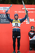 7th January 2018, Val di Fiemme, Fiemme Valley, Italy; FIS Cross Country World Cup, Tour de ski; Mens 9km F Pursuit; Martin Johnsrud Sundby (NOR) celebrates on the podium