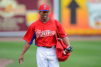 Philadelphia Phillies outfielder Ben Revere #2 before a Spring Training game against the Boston Red Sox at Bright House Field on March 24, 2013 in Clearwater, Florida.  Boston defeated Philadelphia 7-6.  (Mike Janes/Four Seam Images)