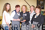 RETIREMENT: Mary Daly, The Spa being presented with a crystal clock by Kitty Walsh for her service to Lee Strand at Quanes bar, Blennerville on Saturday l-r: Suzanne O'Connell, Mary Daly, Kitty Walsh, Gabrielle O'Flaherty and Noreen O'Neill.