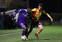 20191125 - WOLVERTEM: Anderlecht's Jeremy Doku (left) and Mechelen's Alec van Hoorenbeek (right) are battling for the ballduring the Belgian Elite U21 league football match between RSC Anderlecht U21 and KV Mechelen U21 on Monday 25th of November 2019 at F. Lathouwersstadion, Wolvertem Belgium. PHOTO: SEVIL OKTEM|SPORTPIX.BE