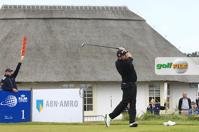 Shane Lowry (IRL) on the 1st tee during Round 4 of the KLM Open at Kennemer Golf &amp; Country Club on Sunday 14th September 2014.<br /> Picture:  Thos Caffrey / www.golffile.ie