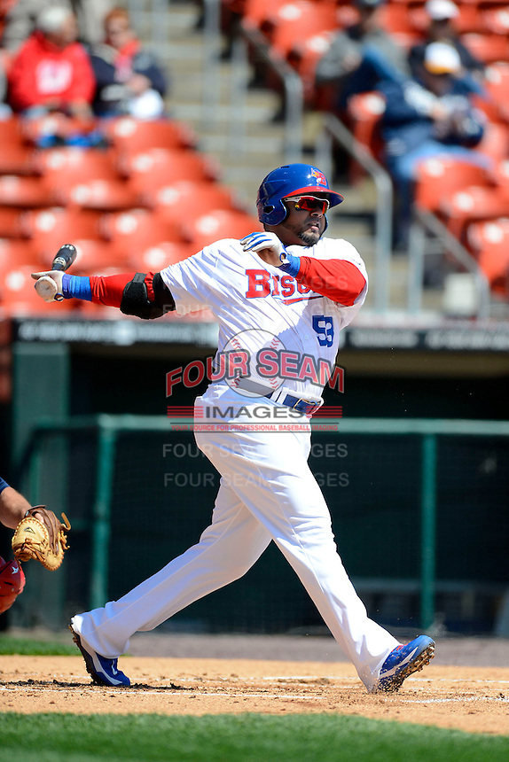 Buffalo Bisons first baseman Luis Jimenez #53 during the first game of a doubleheader against the Pawtucket Red Sox on April 25, 2013 at Coca-Cola Field in Buffalo, New York.  Pawtucket defeated Buffalo 8-3.  (Mike Janes/Four Seam Images)
