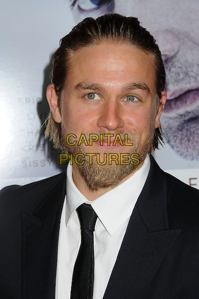 "Charlie Hunnam.Attending the ""Deadfall"" Los Angeles Premiere held at Arclight Cinemas, Hollywood, California, USA, .29th November 2012..portrait headshot beard facial hair black suit tie white shirt .CAP/ADM/BP.©Byron Purvis/AdMedia/Capital Pictures."