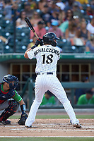 Trey Michalczewski (18) of the Charlotte Knights at bat against the Gwinnett Braves at BB&T BallPark on July 14, 2019 in Charlotte, North Carolina.  The Stripers defeated the Knights 5-4. (Brian Westerholt/Four Seam Images)