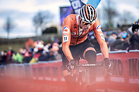 Mathieu Van der Poel (NED) on his way to the rainbow jersey and gold medal. <br /> <br /> Men's Elite race <br /> <br /> UCI 2019 Cyclocross World Championships<br /> Bogense / Denmark<br /> <br /> <br /> ©kramon