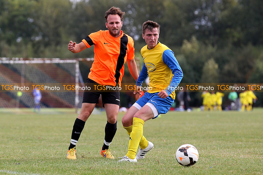El Valiente (orange) vs FC Niva (yellow/blue), Hackney & Leyton Sunday League Football at Hackney Marshes on 2nd October 2016