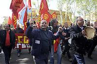 Roma, 12 Aprile 2012.Ministero del Lavoro.Via Fornovio.Manifestazione degli operai Sirti contro i licenziamenti..