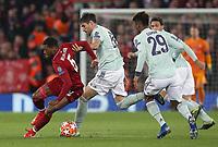 Liverpool's Georginio Wijnaldum under pressure from  Bayern Munich's Javi Martinez (left) and Kingsley Coman<br /> <br /> Photographer Rich Linley/CameraSport<br /> <br /> UEFA Champions League Round of 16 First Leg - Liverpool and Bayern Munich - Tuesday 19th February 2019 - Anfield - Liverpool<br />  <br /> World Copyright © 2018 CameraSport. All rights reserved. 43 Linden Ave. Countesthorpe. Leicester. England. LE8 5PG - Tel: +44 (0) 116 277 4147 - admin@camerasport.com - www.camerasport.com