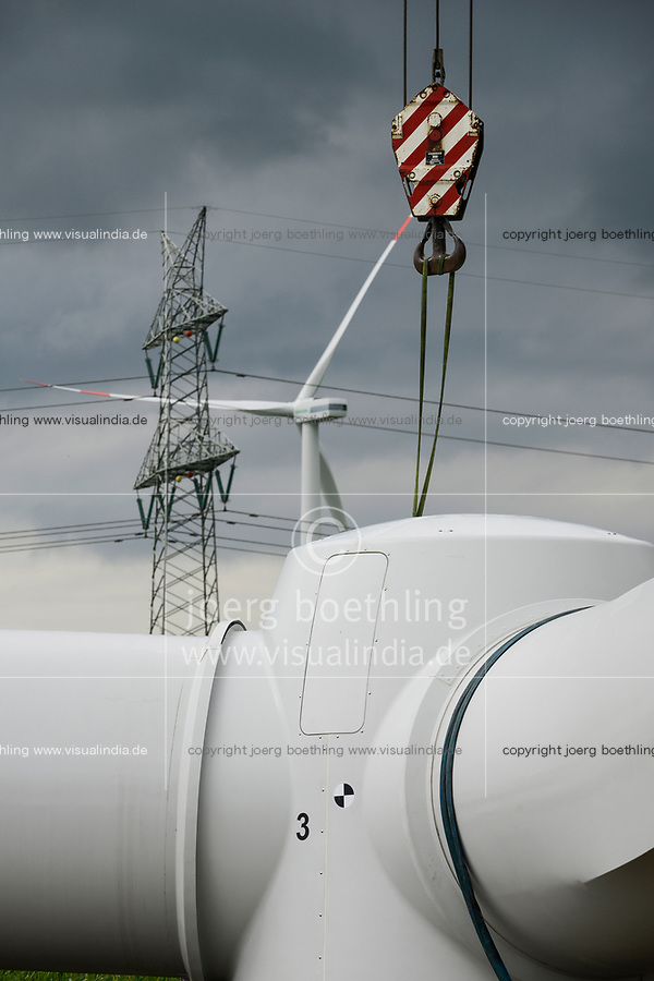 Germany Schleswig-Holstein Nortorf, construction of wind turbine SENVION 3.2M114, performance 3,2 Megawatt