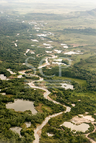 Pará State, Brazil. Rain forest with deserted illegal gold mines (Garimpos).