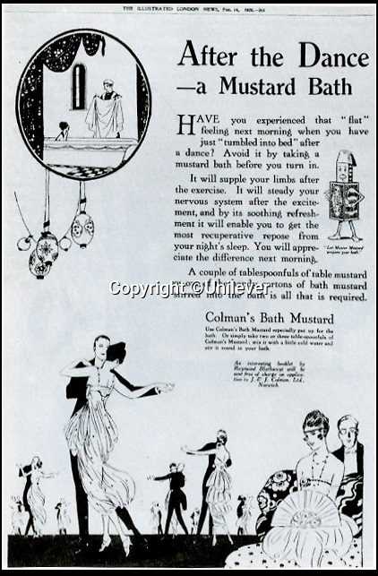 BNPS.co.uk (01202 558833)<br /> Pic: Unilever/BNPS<br /> <br /> 1920 advert for Mustard baths...to help the joints.<br /> <br /> A staple of the British kitchen is celebrating its anniversary this year as Colman's Mustard turns 200.<br /> <br /> Archivist's research reveals the 200 year history of Colmans mustard.<br /> <br /> Founded in Norwich in 1814 by Jeremiah Colman, the super hot condiment made from Norfolk mustard seeds soon become a family favourite at dinner tables throughout the Empire, with even Capt Scott taking a case on his ill fated Terra Nova expedition to the south pole.<br /> <br /> So vital was the powdered sauce that it escaped wartime rationing to keep the home fires burning during the dark days of WW2. <br /> <br /> Despite being founded a year before Napoleon met his Waterloo, the world famous brand still produces 3000 tons of the fiery favourite every year exporting to all parts of the globe.