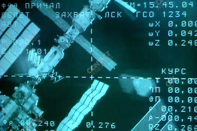 A screen at Mission Control Centre in Korolyev, outside of Moscow, showed the International Space Station minutes before the Soyuz TMA-12 spacecraft was due to dock with it. Russia, April 10, 2008