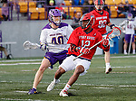 UAlbany Men's Lacrosse defeats Stony Brook on March 31 at Casey Stadium.  Wayne White (#12) defended by Kyle McClancy (#40).