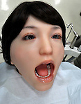 """June 29th, 2011, Tokyo, Japan - Hanako Showa 2, a robotic dental patient, shows realistic reactions and movements. It was developed by Showa University, Waseda University and Kogakuin Univeristy. They are corabolating  with Japanese robot maker tmsuk.  The robot is used for training dentists with her unique ability to follow verbal instructions from dentists. She reacts like a human as saying """"Ouch! It hurts!"""" (Photo by Natsuki Sakai/AFLO)"""
