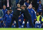 30th September 2017, Stamford Bridge, London, England; EPL Premier League football, Chelsea versus Manchester City; Manchester City manager Josep Guardiola shakes hands with Chelsea Manager Antonio Conte after the final whistle as Manchester City defeat Chelsea at Stamford Bridge by a single goal scored by Kevin De Bruyne of Manchester City
