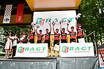 BMC Racing Team lead the team classification at sign on before the start of Stage 9 of the 104th edition of the Tour de France 2017, running 181.5km from Nantua to Chambery, France. 9th July 2017.<br /> Picture: ASO/Alex Broadway | Cyclefile<br /> <br /> <br /> All photos usage must carry mandatory copyright credit (&copy; Cyclefile | ASO/Alex Broadway)