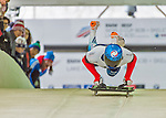 9 January 2016: Alexander Mutovin, competing for Russia, pushes off for his first run start of the BMW IBSF World Cup Skeleton race at the Olympic Sports Track in Lake Placid, New York, USA. Mutovin ended the day with a combined 2-run time of 1:51.01 and a 14th place overall finish. Mandatory Credit: Ed Wolfstein Photo *** RAW (NEF) Image File Available ***