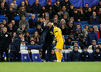 30th November 2019; Stamford Bridge, London, England; English Premier League Football, Chelsea versus West Ham United; Chelsea Manager Frank Lampard shouting instructions to Goalkeeper Kepa Arrizabalaga of Chelsea from the touchline   - Strictly Editorial Use Only. No use with unauthorized audio, video, data, fixture lists, club/league logos or 'live' services. Online in-match use limited to 120 images, no video emulation. No use in betting, games or single club/league/player publications
