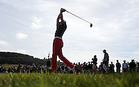 Gregory Bourdy (FRA) drives from the 9th tee during the final round of the 2013 ISPS Handa Wales Open from the Celtic Manor Resort, Newport, Wales. Picture:  David Lloyd / www.golffile.ie