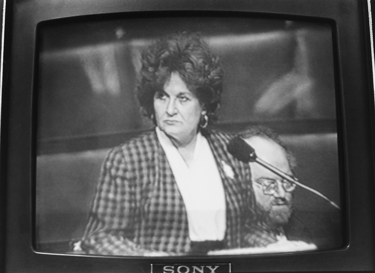 Live telecast of Rep. Louise Slaughter, D-N.Y., on television, on March 29, 1993. (Photo by CQ Roll Call via Getty Images)