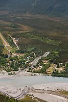 Aerial of the historic mining community of Wiseman, Alaska.
