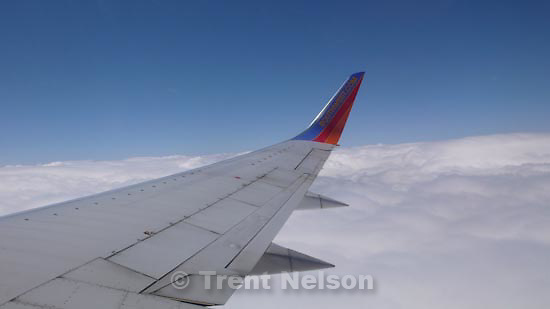 out the window, Southwest flight