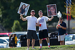 Andy Pierce (left) and Frank Antenuci of the Sigma Nu fraternity hold photos of High Point Panthers goalie Alex Hank prior to the start of the match against the Appalachian State Mountaineers at Vert Track, Soccer & Lacrosse Stadium on August 26, 2016 in High Point, North Carolina.  The Panthers defeated the Mountaineers 2-0.   (Brian Westerholt/Sports On Film)