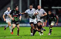 Aled Brew of Bath Rugby takes on the Pau defence. European Rugby Challenge Cup match, between Pau (Section Paloise) and Bath Rugby on October 15, 2016 at the Stade du Hameau in Pau, France. Photo by: Patrick Khachfe / Onside Images