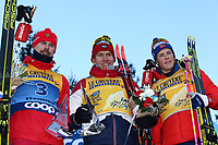 5th January 2020; Val Di Fiemme Ski Resort, Val Di Fiemme, Trento, Italy; International Ski Federation Audi FIS Mens Cross Country Ski World Cup, Tour De Ski Val Di Fiemme; Winners Sergey Ustiugov (RUS), Alexander Bolshunov (RUS), Johannes Hoesflot Klaebo (NOR)