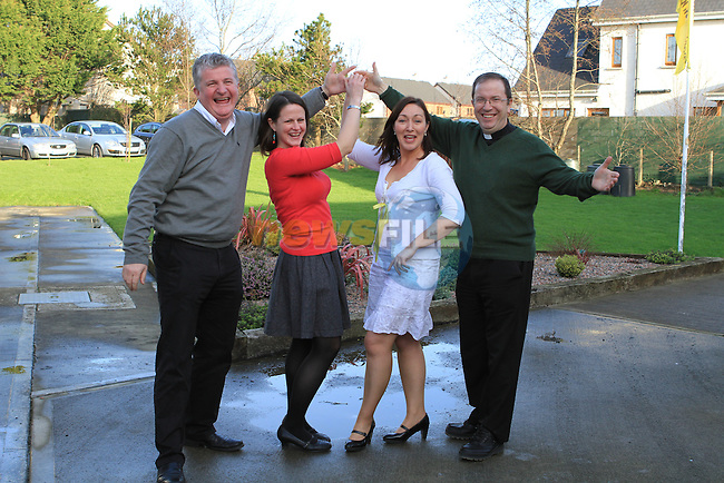 Principal of Callystown NS, Ambrose McGinnity with Dancers Mary King, Eilish Deery and Fr.Paul Clayton Lea ahead of the Strictly Come Dancing Event...(Photo credit should read Jenny Matthews www.newsfile.ie)....This Picture has been sent you under the conditions enclosed by:.Newsfile Ltd..The Studio,.Millmount Abbey,.Drogheda,.Co Meath..Ireland..Tel: +353(0)41-9871240.Fax: +353(0)41-9871260.GSM: +353(0)86-2500958.email: pictures@newsfile.ie.www.newsfile.ie.