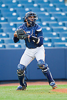 Cambric Moye (30) of the UNCG Spartans on defense against the Georgia Southern Eagles at UNCG Baseball Stadium on March 29, 2013 in Greensboro, North Carolina.  The Spartans defeated the Eagles 5-4.  (Brian Westerholt/Four Seam Images)