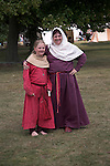 Mother and daughter, Living History event, Sutton Hoo, Suffolk, England