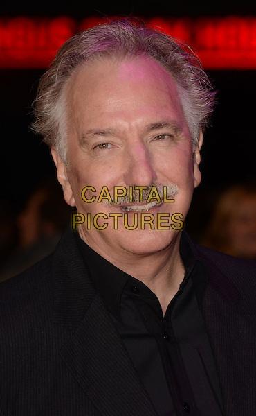 Alan Rickman .'Gambit' world film premiere, Empire cinema, Leicester Square, London, England..7th November 2012..portrait headshot black shirt moustache mustache facial hair .CAP/WIZ.© Wizard/Capital Pictures.