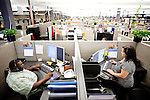 "AFLAC call center employees Chavis Bell and Carolin Lawton answers calls from customer in Columbus, Georgia October 21, 2010. The center has changed the recorded voice to one that is more appealing to customers...""CREDIT: Kendrick Brinson/LUCEO The Wall Street Journal"".Voice"