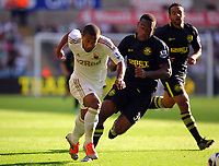 Saturday, 20 October 2012<br /> Pictured L-R: Wayne Routledge of Swansea challenged by Maynor Figueroa of Wigan<br /> Re: Barclays Premier League, Swansea City FC v Wigan Athletic at the Liberty Stadium, south Wales.