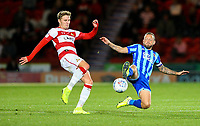 Blackpool's Jay Spearing battles with Doncaster Rovers' Kieran Sadlier<br /> <br /> Photographer Alex Dodd/CameraSport<br /> <br /> The EFL Sky Bet League One - Doncaster Rovers v Blackpool - Tuesday September 17th 2019 - Keepmoat Stadium - Doncaster<br /> <br /> World Copyright © 2019 CameraSport. All rights reserved. 43 Linden Ave. Countesthorpe. Leicester. England. LE8 5PG - Tel: +44 (0) 116 277 4147 - admin@camerasport.com - www.camerasport.com