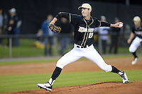 Central Florida Knights pitcher Eric Skoglund (25) during the season opening game against the Siena Saints at Jay Bergman Field on February 14, 2014 in Orlando, Florida.  UCF defeated Siena 8-1.  (Mike Janes/Four Seam Images)