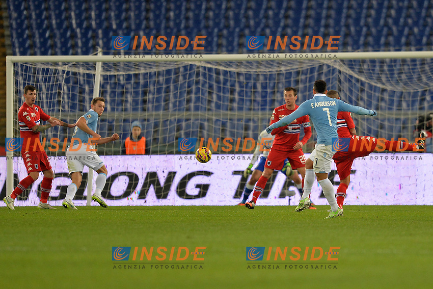 Gol di Felipe Anderson Lazio. Goal.<br /> Roma 5-01-2015 Stadio Olimpico. Football Calcio 2014/2015 Serie A. Lazio - Sampdoria. Foto Antonietta Baldassarre / Insidefoto